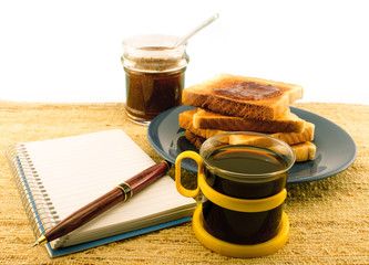 Coffee toast and marmalade