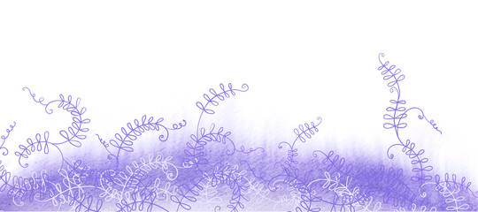 Watercolor violet grass with curly plants