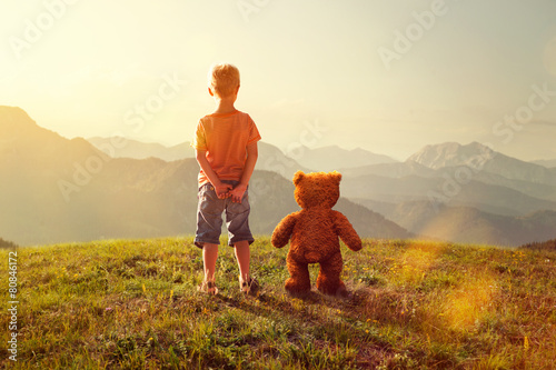 Toddler and Teddy - 80846172