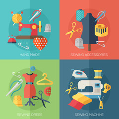 sewing dress, accessories, hand made icons. Concepts for web