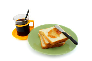 Coffee and Fresh bread with jam