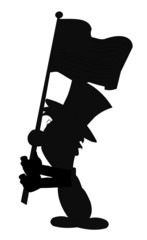 boy carrying flag in silhouette