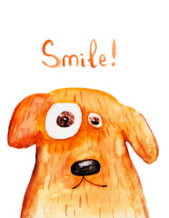 Big dog smile. Watercolor illustration Hand drawing