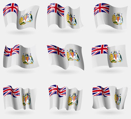 Set of British Antarctic Territory flags in the air. Vector