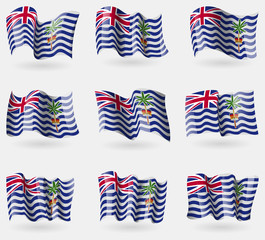 Set of British Indian Ocean Territory flags in the air. Vector