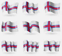 Set of Faroe Islands flags in the air. Vector