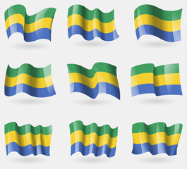 Set of Gabon flags in the air. Vector