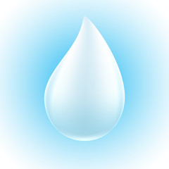 White drop on blue background.