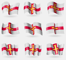 Set of Guernsey flags in the air. Vector