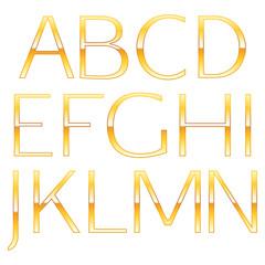 Golden metallic alphabet. Simple font letters.