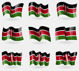 Set of Kenya flags in the air. Vector