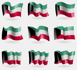 Set of Kuwait flags in the air. Vector