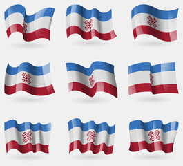 Set of Mari El flags in the air. Vector
