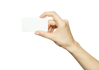 Female hand holding a blank business card, isolated on white