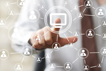 Business button media connection computer virtual