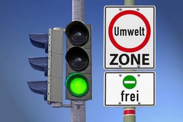 Umweltzone frei mit grüner Plakette