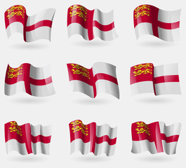 Set of Sark flags in the air. Vector
