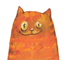 Big red cat. Gouache illustration. Hand drawing
