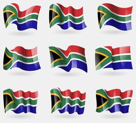 Set of South Afreica flags in the air. Vector