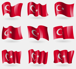 Set of Turkey flags in the air. Vector