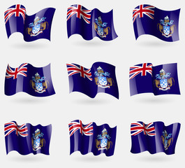 Set of Tristan da Cunha flags in the air. Vector