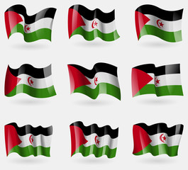 Set of Western Sahara flags in the air. Vector