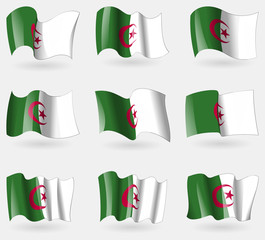 Set of Algeria flags in the air. Vector