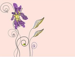 Sfondo vintage floreale con iris e foglie