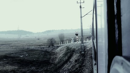 view from the moving train.