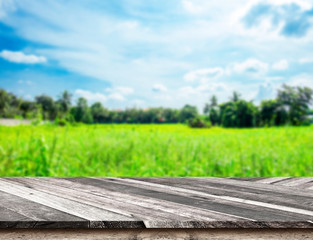 Empty Diagonal Wooden Table top at blurred green field and blue