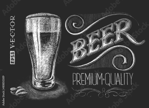 Poster of beer on the chalkboard