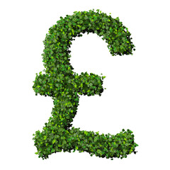 British Pound (currency) symbol or sign made from green leaves.