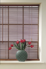 Wooden Blind, Vase and Tulips