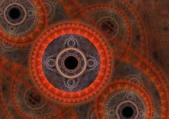 Red abstract circle fractal, mechanical background