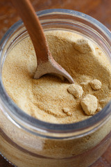 Organic Whole Cane Sugar in a glass jar
