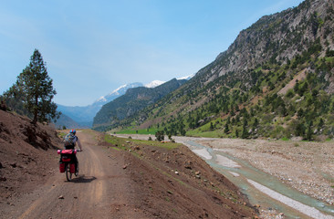 Cyclist riding on mountain serpentine in Turkey