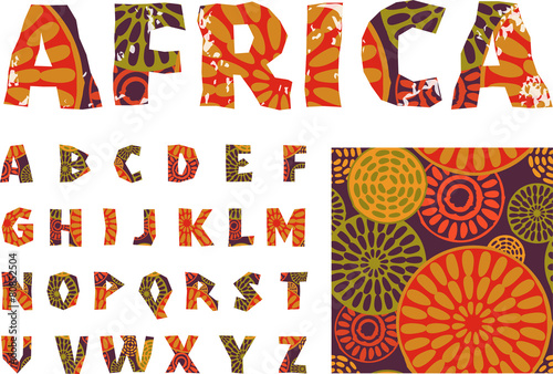 Africa - alphabet and pattern - 80852504