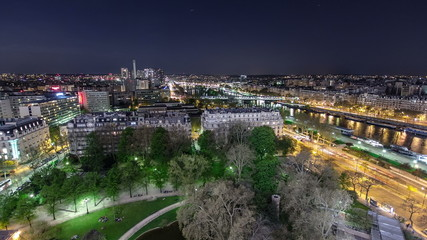View of river Seine from the Eiffel tower night timelapse. Paris