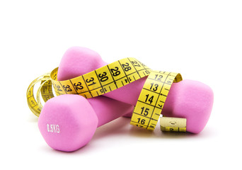 Two pink dumbbells