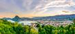 Leinwanddruck Bild - Lugano im Sonnenuntergang
