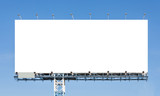 Blank billboard ready for new advertisement with blue sky backgr