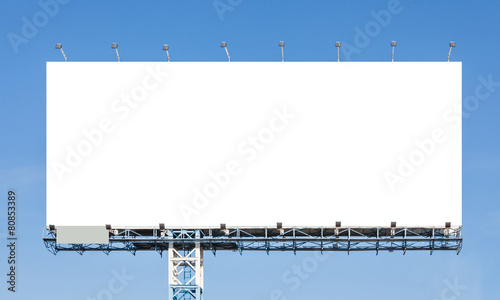 Blank billboard ready for new advertisement with blue sky backgr - 80853389