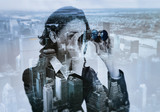 double exposure of businesswoman with binocular and megalopolis - 80853520