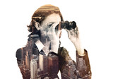 double exposure of businesswoman with binocular and megalopolis - 80853533