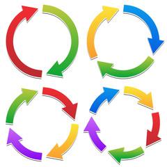 Colorful Circular Arrows Set with 2, 3, 4, 5 Segments. Arrows fo