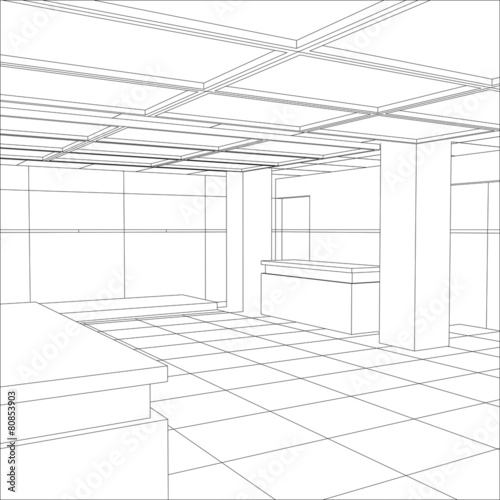 Interior office outlined. Tracing illustration of 3d - 80853903