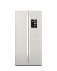 Smart refrigerator with LCD screen. Internet of things conept