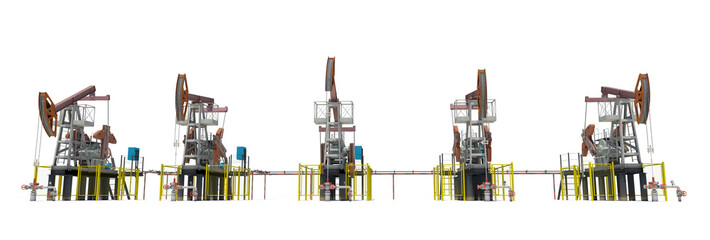 Oil pump-jacks. Front view. Isolated