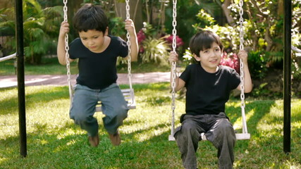 Boys on Swing Front View