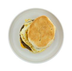 Breakfast Sandwich Isolated On Plate Top
